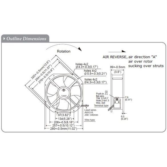 M280GAN22-1-2-3A Multiple Speed Sinwan Metal Impeller